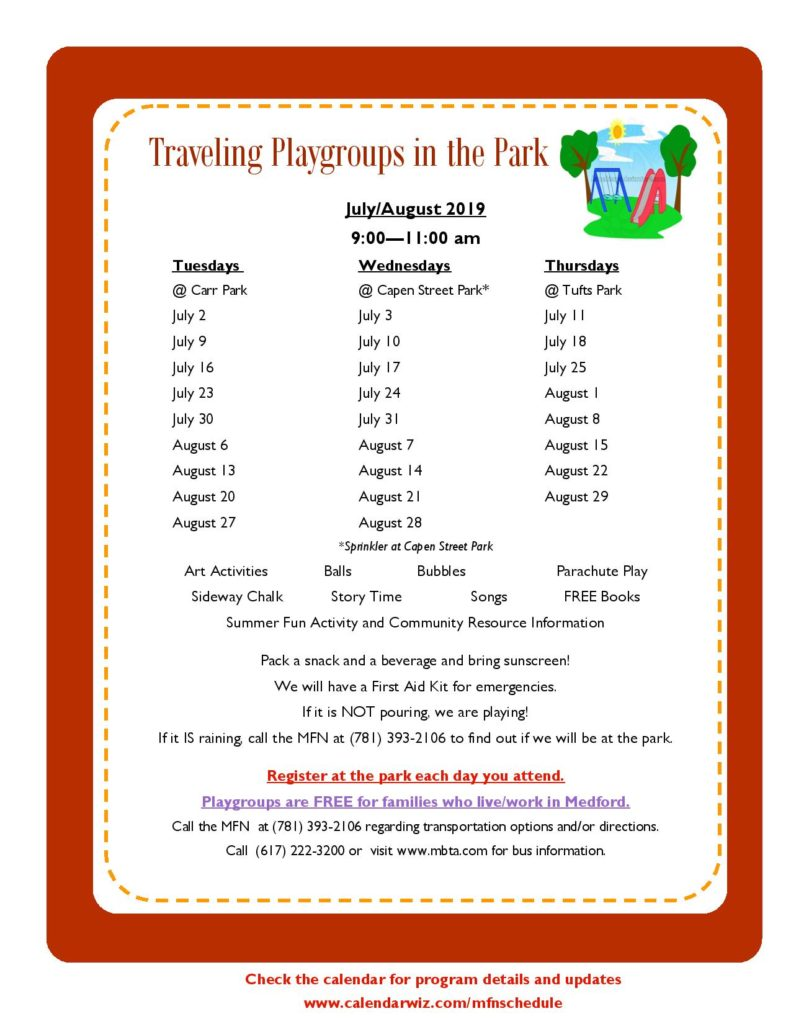 MFN Traveling Playgroups in the Park, Schedule for July