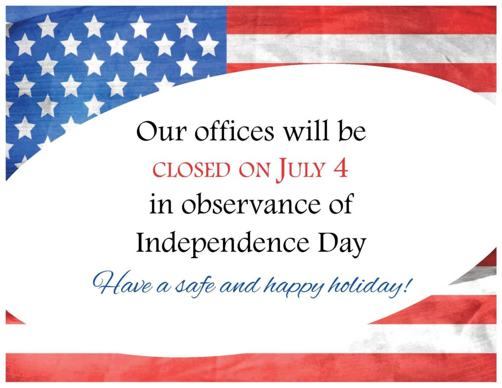 Please Note, Municipal Offices Closed for July 4th Holiday